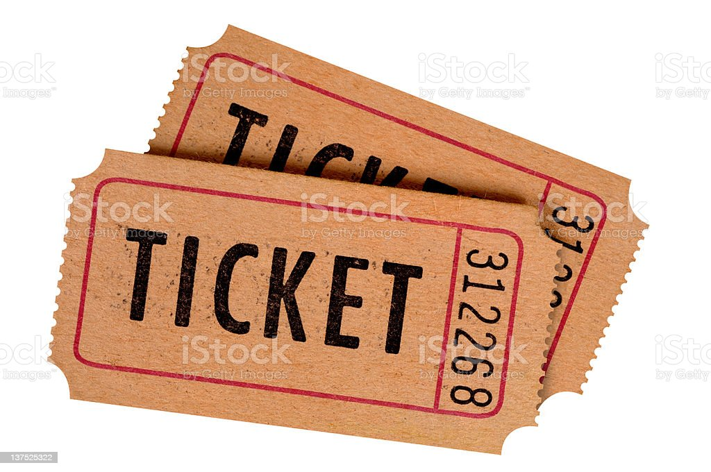 Old stained tickets stock photo
