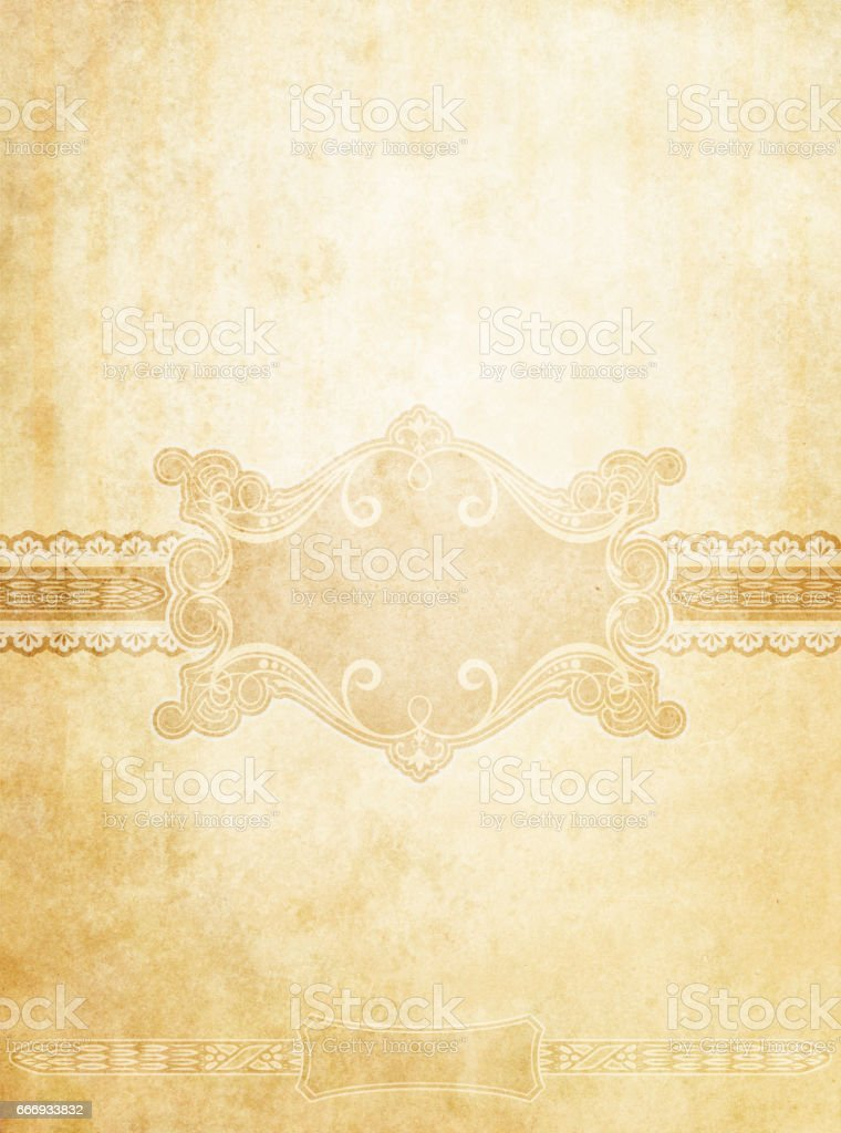 Old stained vintage paper background with decorative elements.. stock photo