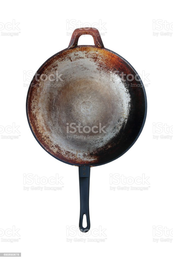 old stainless steel pan isolated on white stock photo