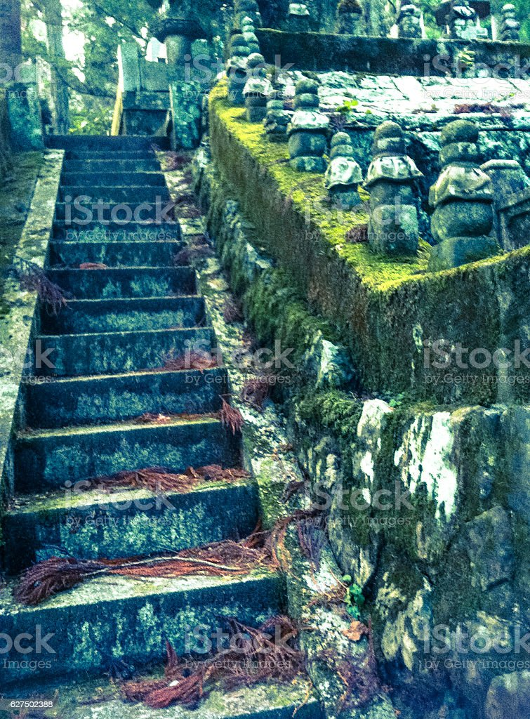 Old stair in a Japan cimetery royalty-free stock photo