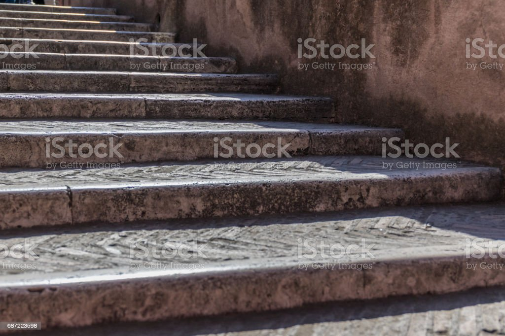 Old staircase and wall on background stock photo