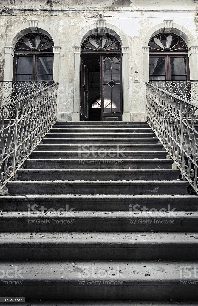 Old staircase of abandoned palace royalty-free stock photo
