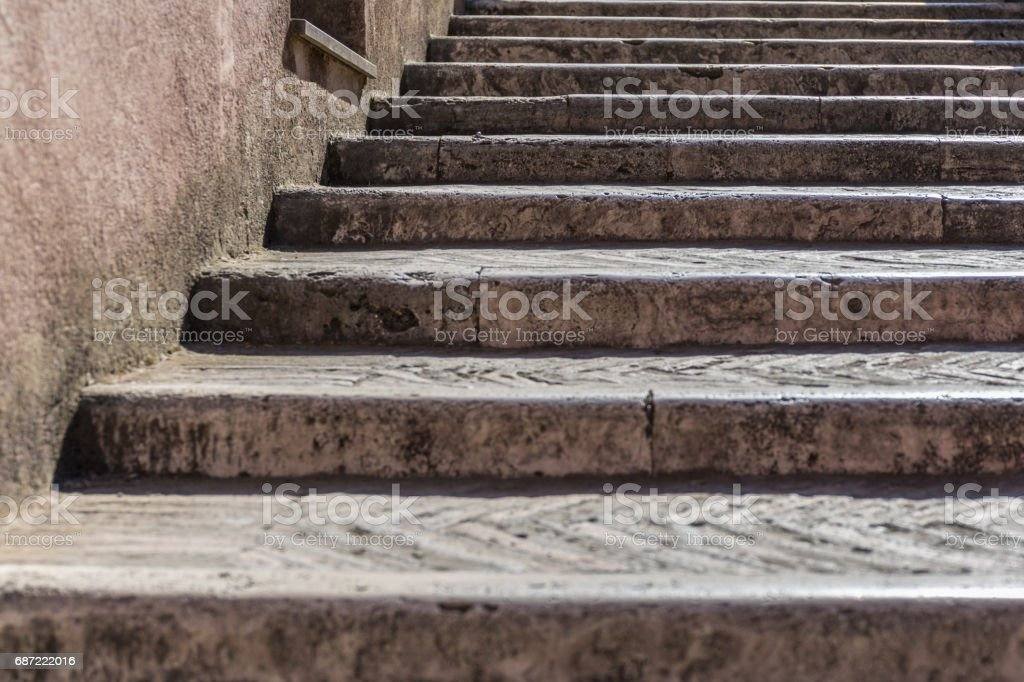 Old staircase with wall and window stock photo