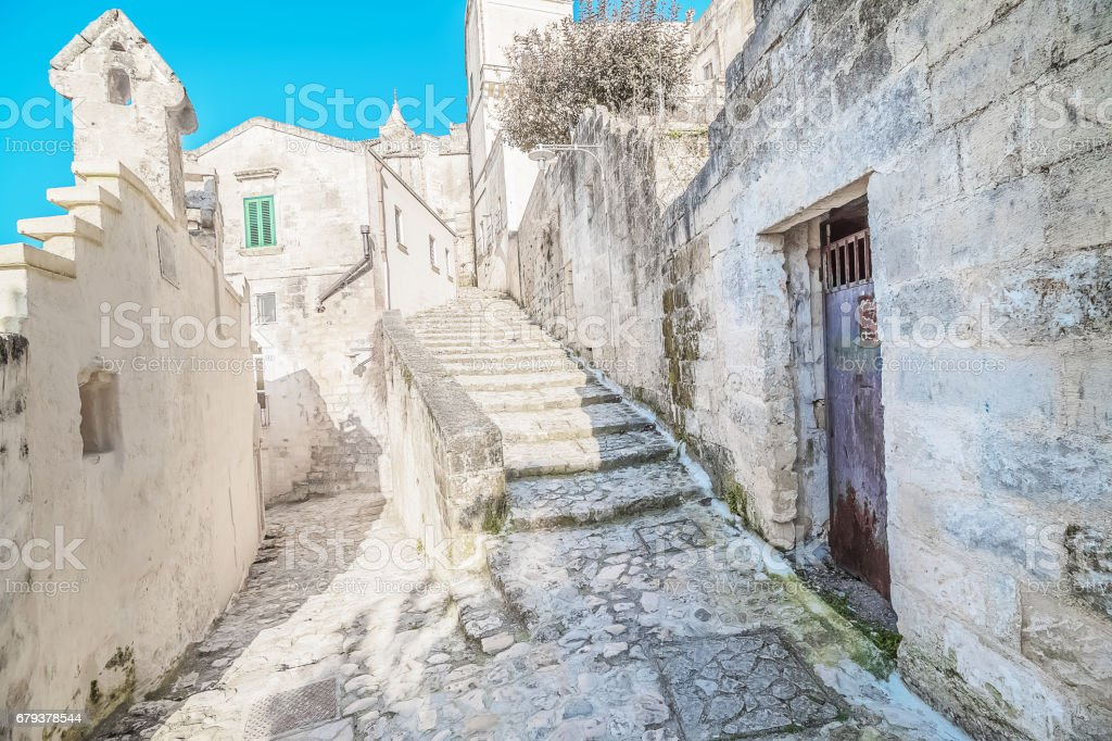 old stairs of stones, the historic building near Matera in Italy UNESCO European Capital of Culture 2019 stock photo