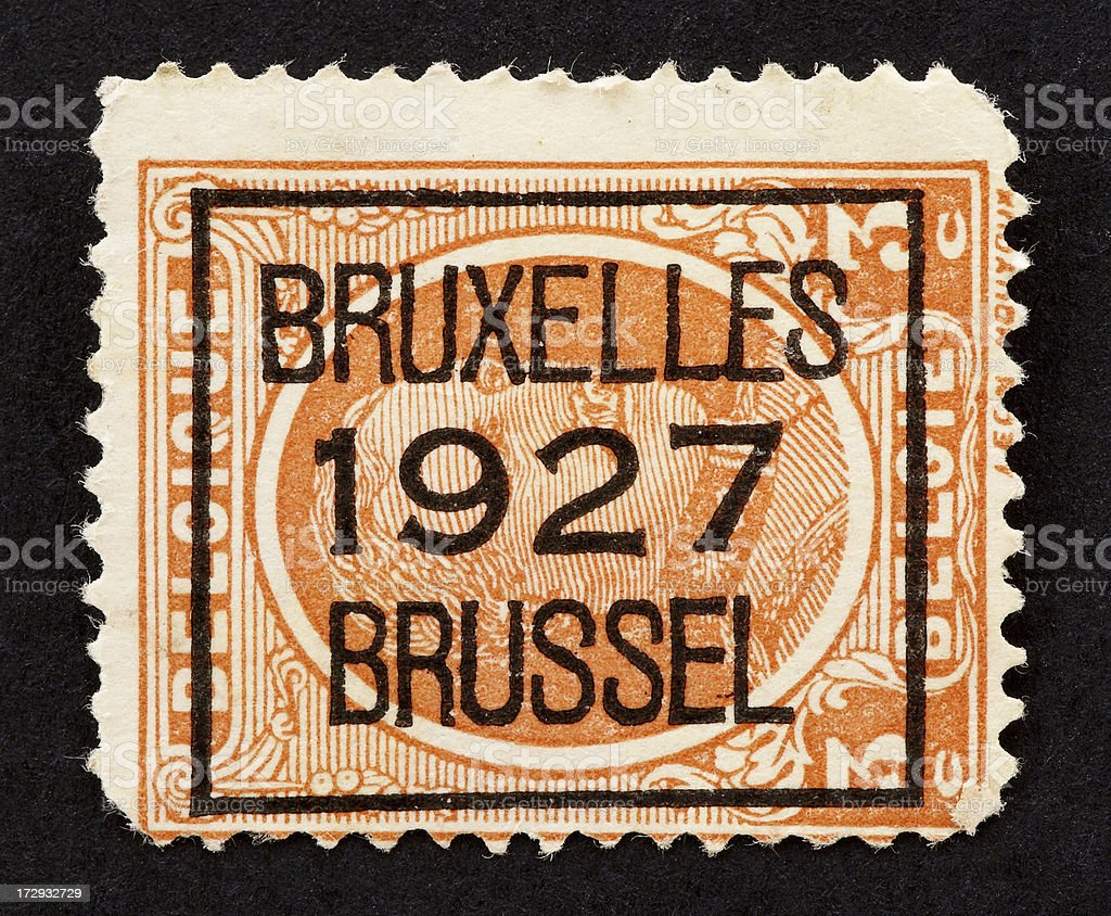Old stamp from Belgium stock photo