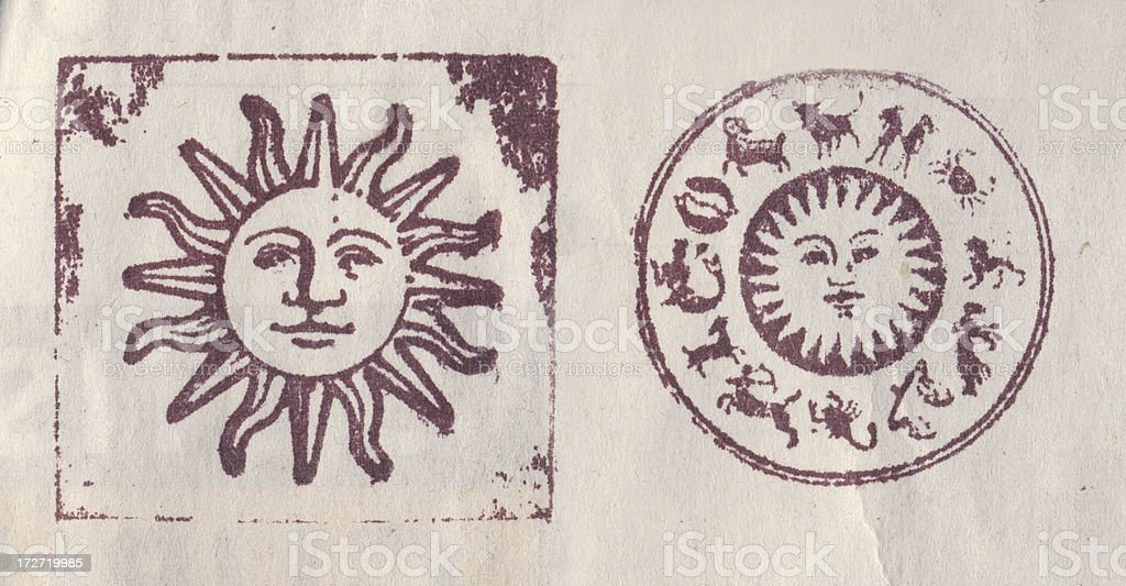 Old stamped letterpress images royalty-free stock photo