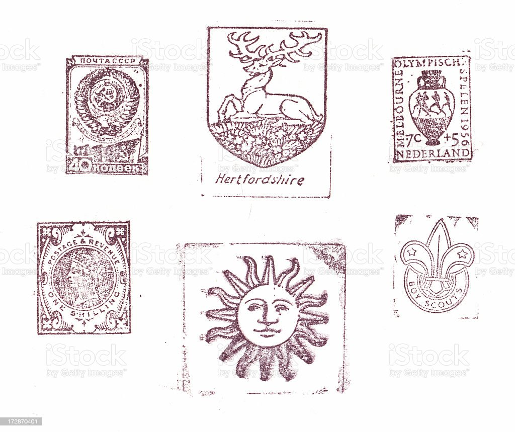 Old stamped letterpress images stock photo