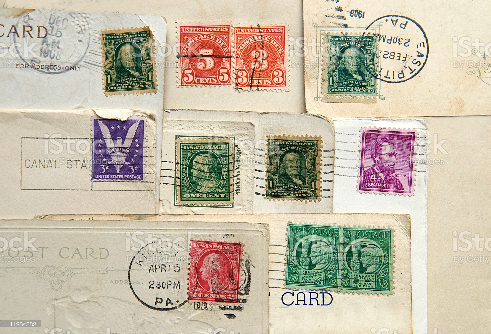Old Stamps and Postmarks royalty-free stock photo