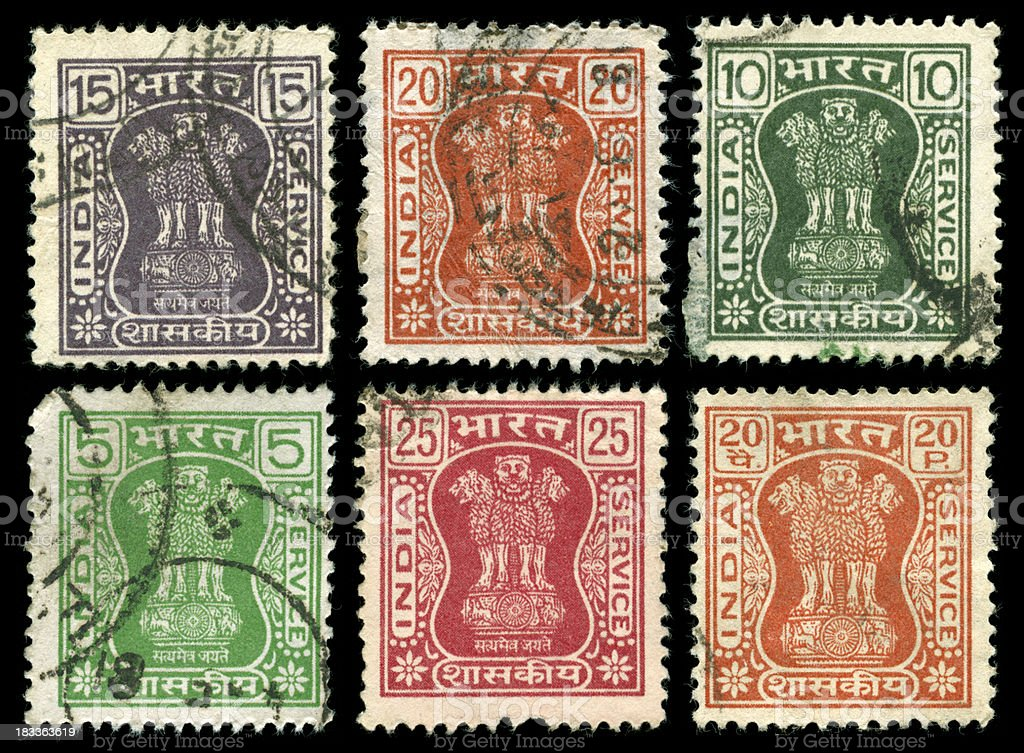 Old stamps of India royalty-free stock photo