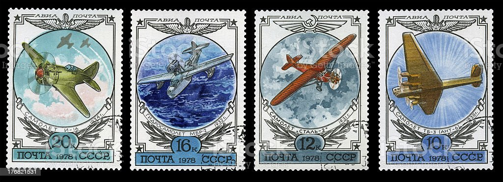 Old stamps set of aviation subjects royalty-free stock photo