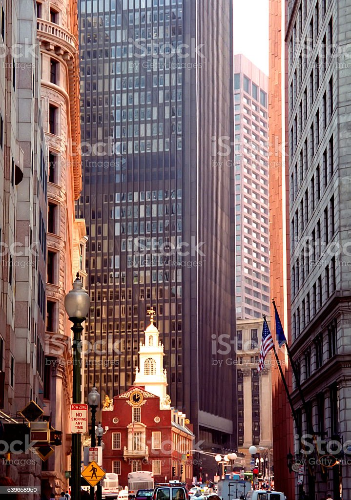Old State House Boston Massachusetts downtown Winter Street Sunny Day stock photo