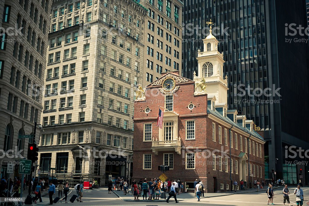 Old State House in Boston, MA with crowds of people stock photo