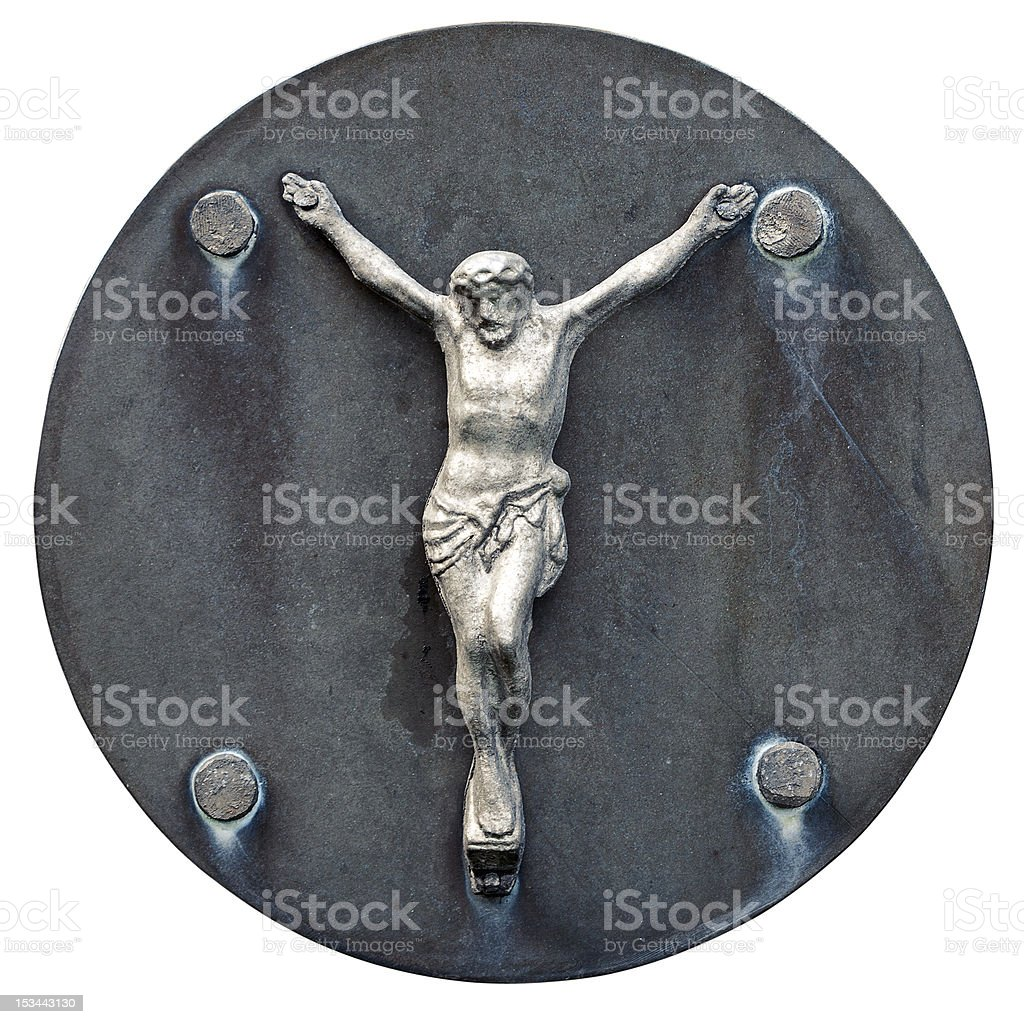 Old statue of Jesus crucified royalty-free stock photo