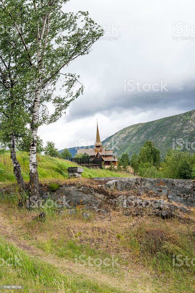 Old stave church in Lom, Norway. stock photo