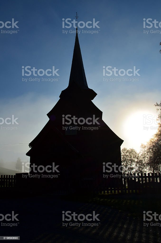 old stavechurch in morninglight stock photo