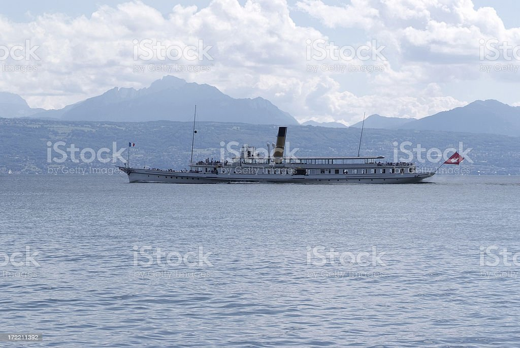 Old Steam Boat on the lake Leman stock photo
