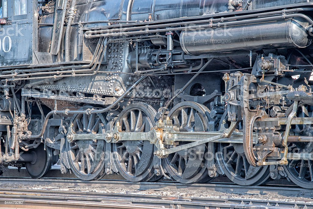 old steam engine iron train detail close up stock photo