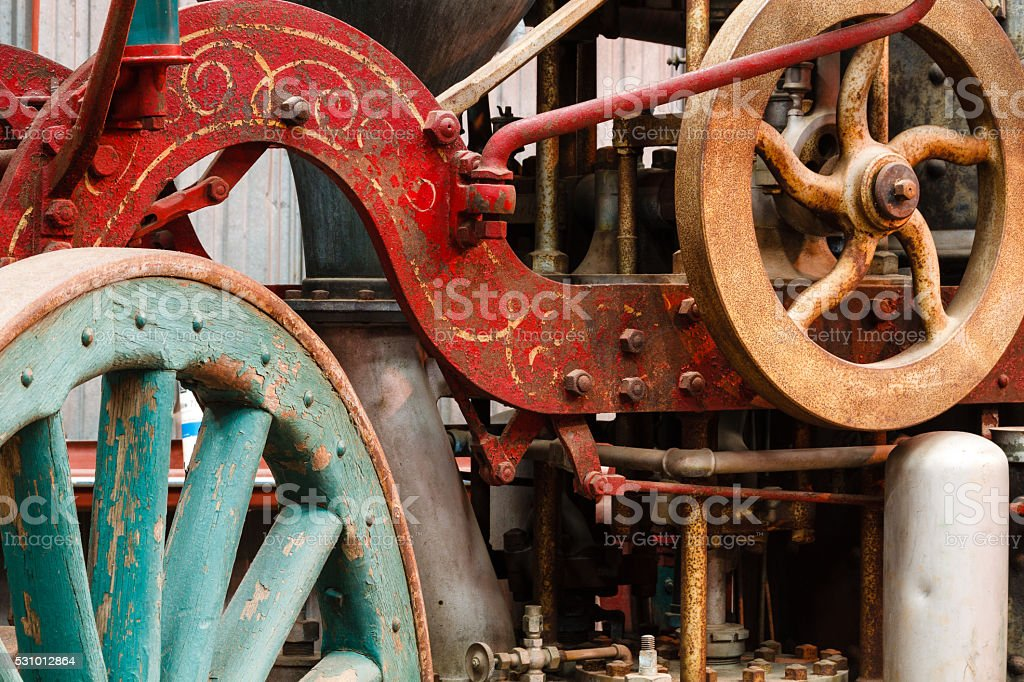 Old steam fire engine stock photo