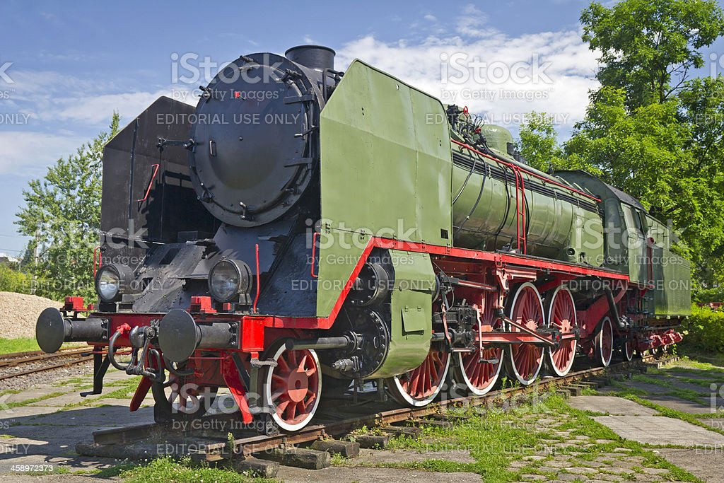 Old steam green locomotive royalty-free stock photo