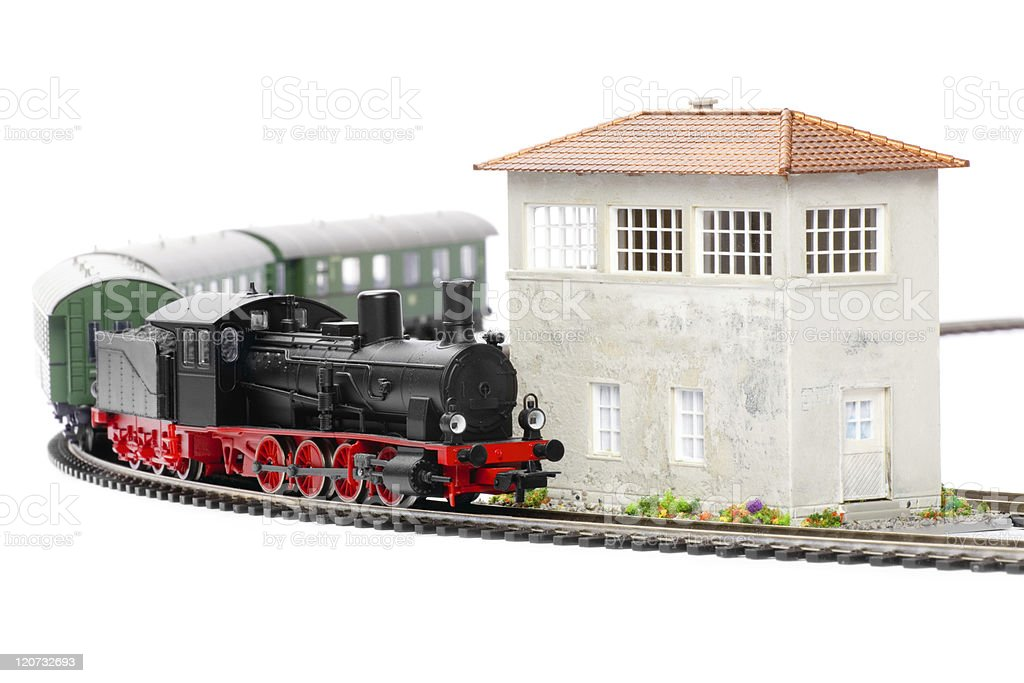 old steam loco model with passenger cars royalty-free stock photo