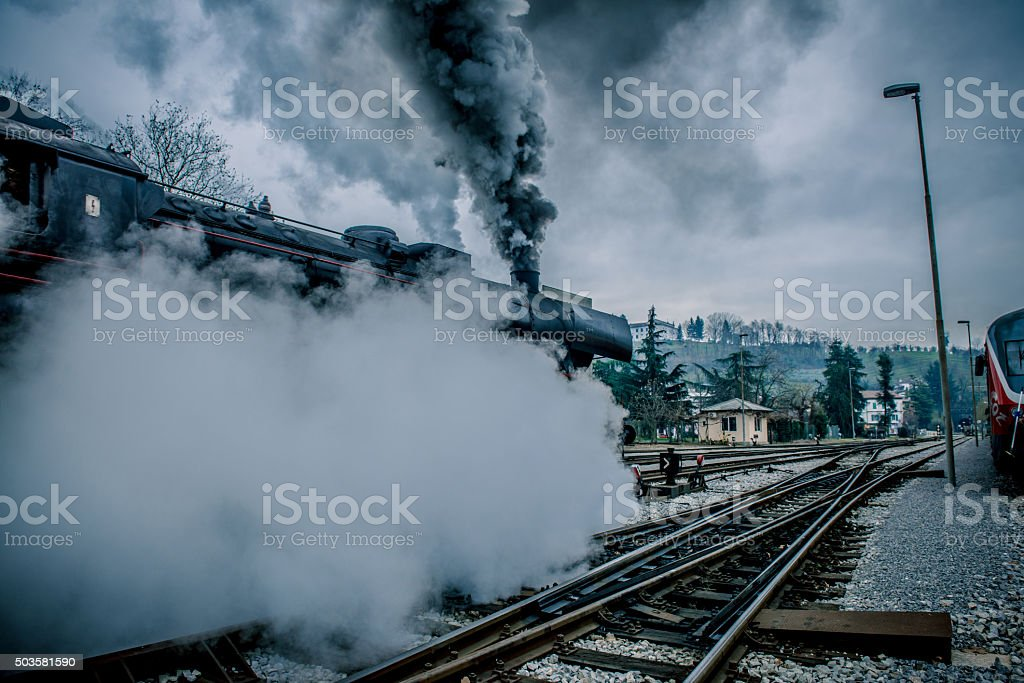 Old Steam Locomotive Leaving Nova Gorica, Slovenia, Europe stock photo