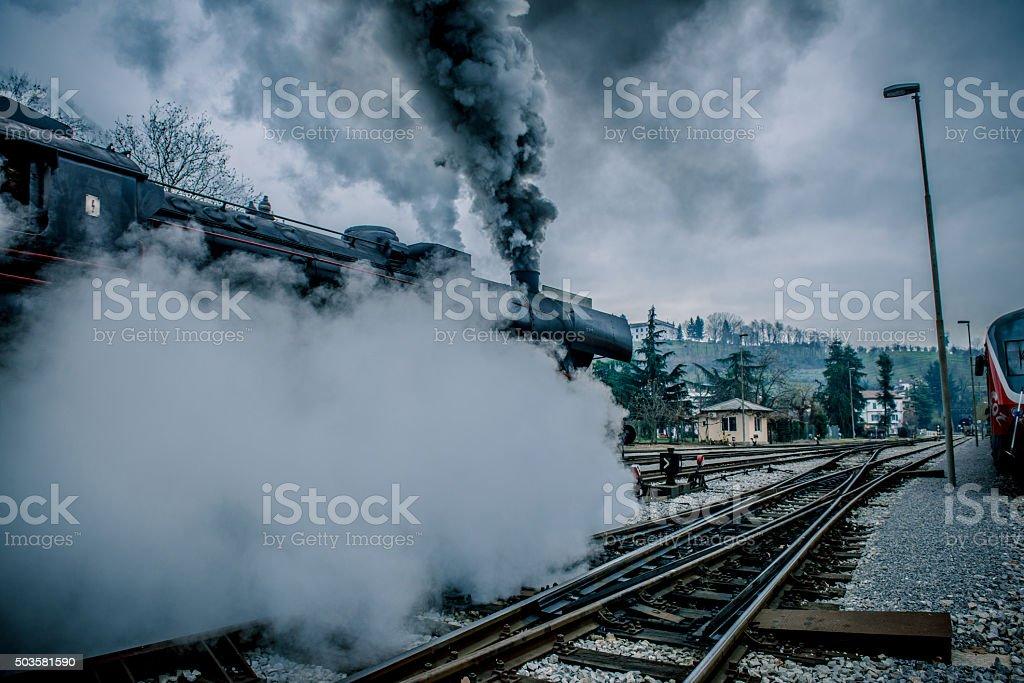 Old Steam Locomotive Leaving Nova Gorica, Slovenia, Europe stock photo