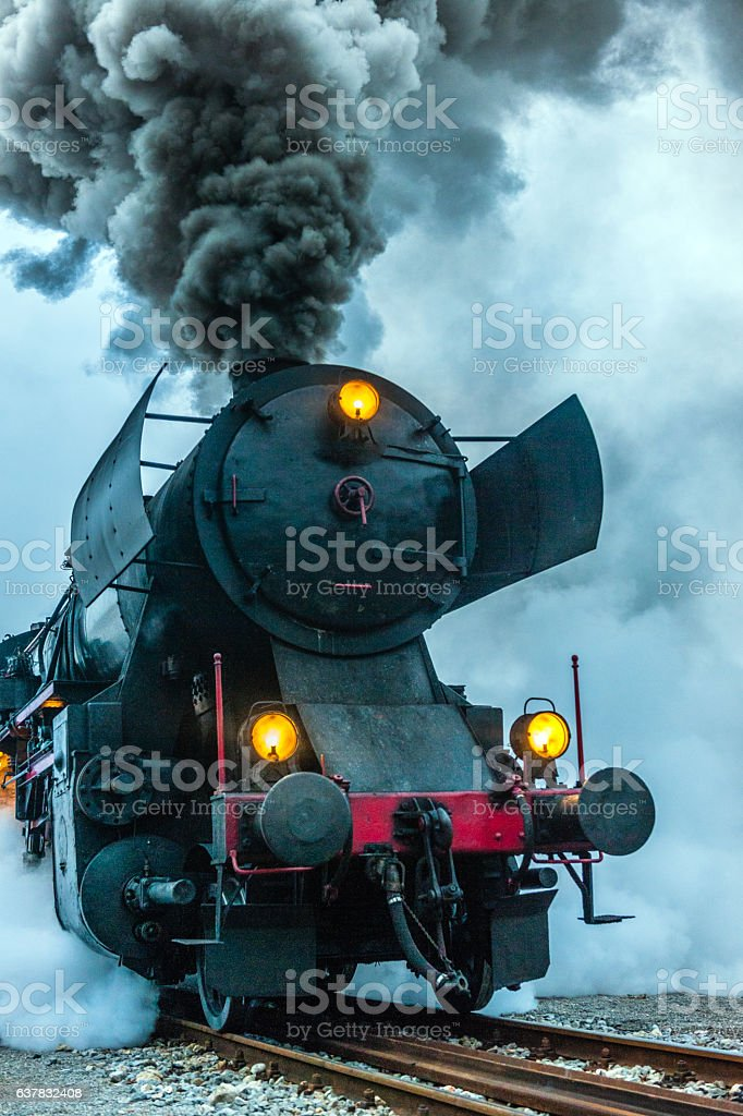 Old steam locomotive, smoke,Nova Gorica,Slovenia stock photo
