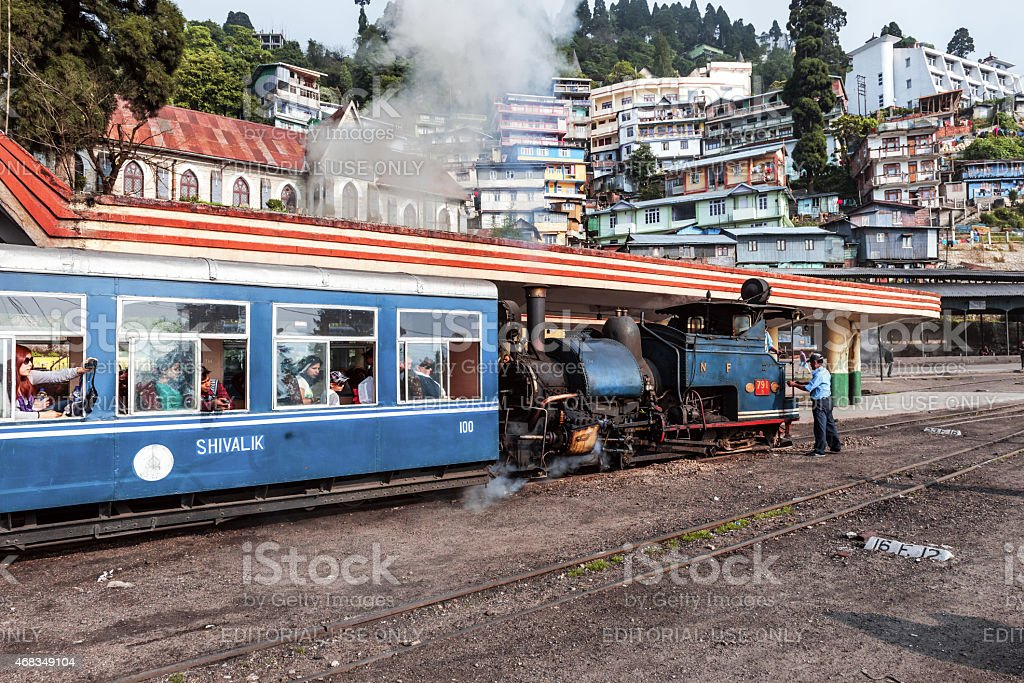 Old Steam Train in Darjeeling, West Bengal, North India stock photo