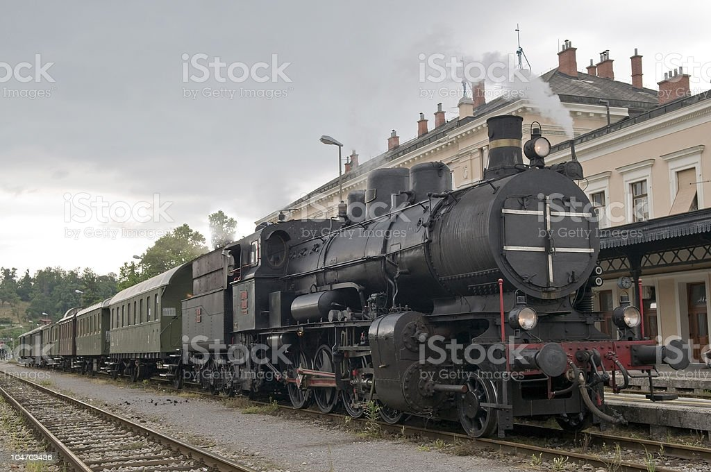 Old Steam Train  Ready to Depart royalty-free stock photo