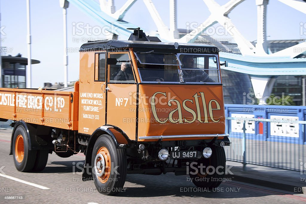 Old steam truck on Tower Bridge in London stock photo