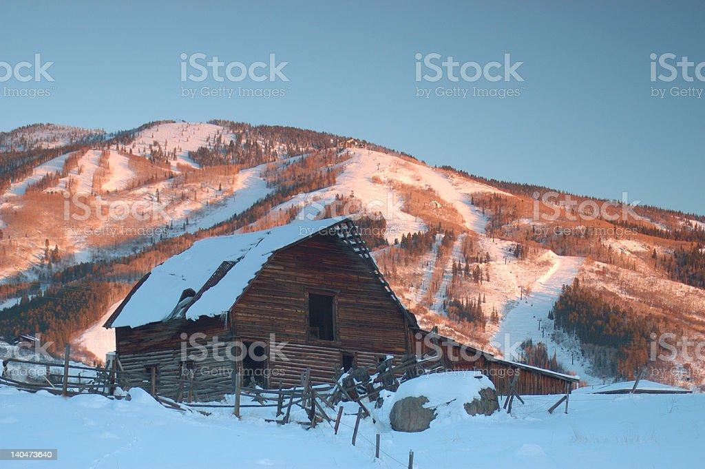 Old Steamboat Springs Barn, Ski Runs in Backdrop stock photo