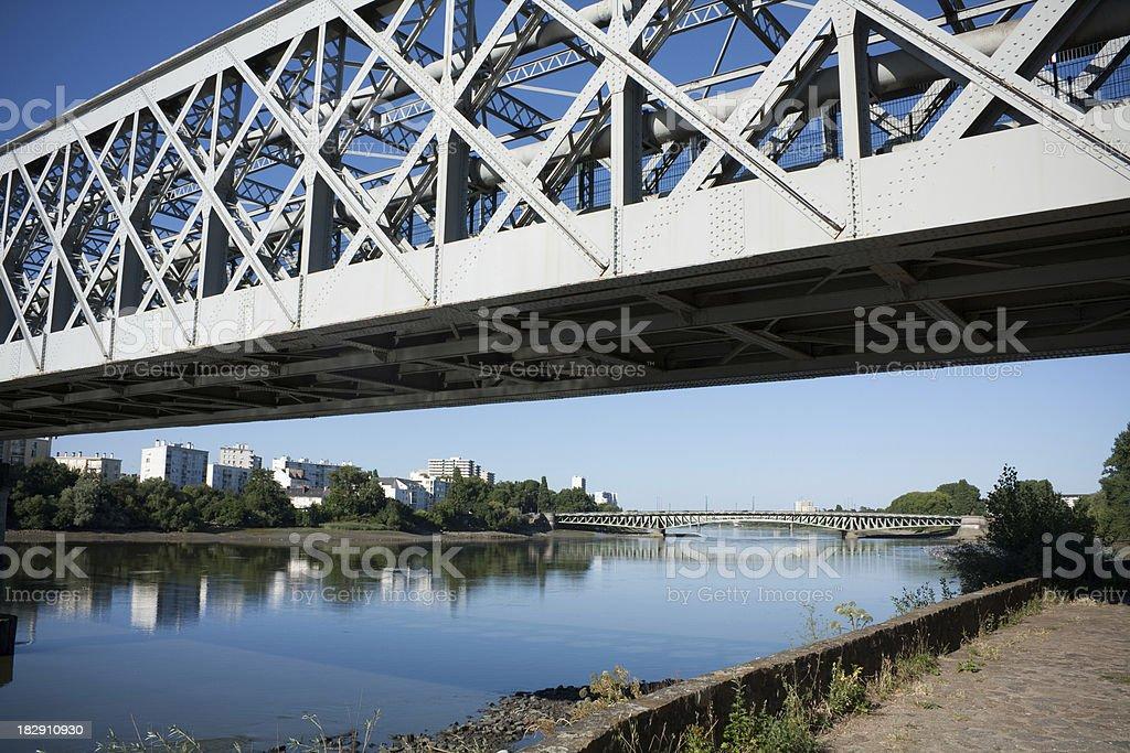Old steel bridge in Nantes over the Loire stock photo