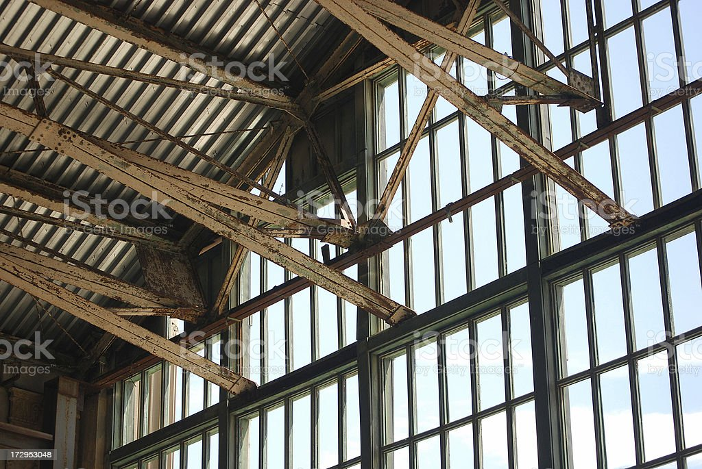 Old Steel Building Interior royalty-free stock photo