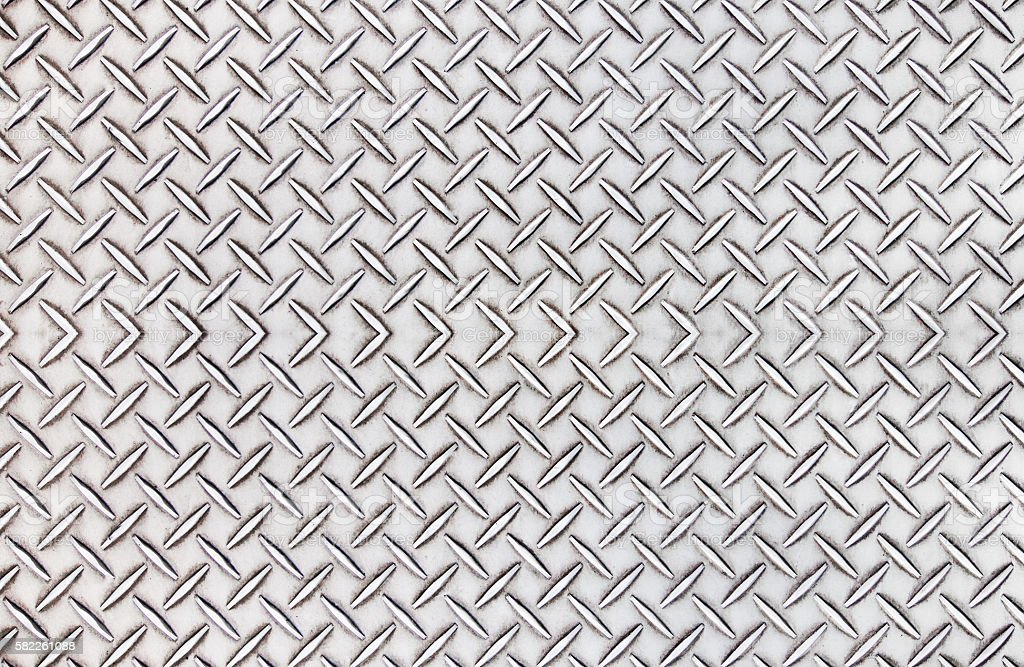 Old steel diamond plate pattern background texture. stock photo