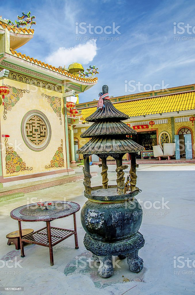 Old steel dragon Incense burner in joss house royalty-free stock photo