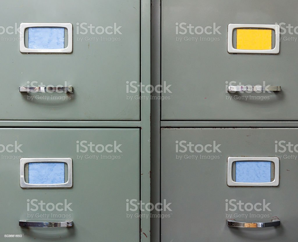 Old steel filing cabinet stock photo