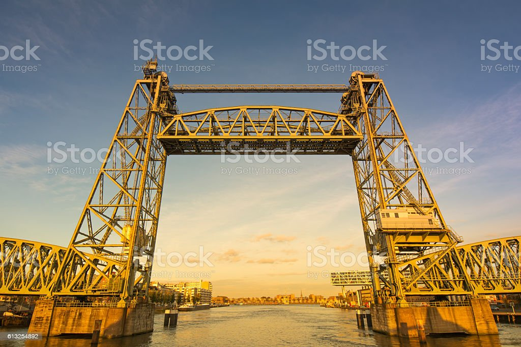 Old steel railway bridge stock photo
