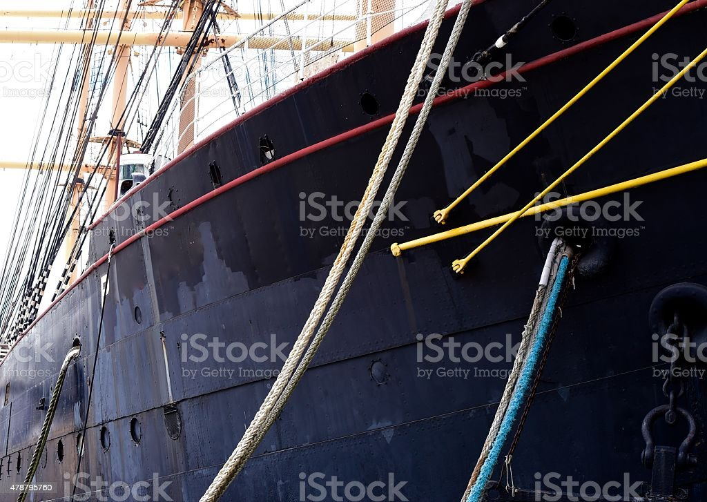 Old steel sailboat stock photo
