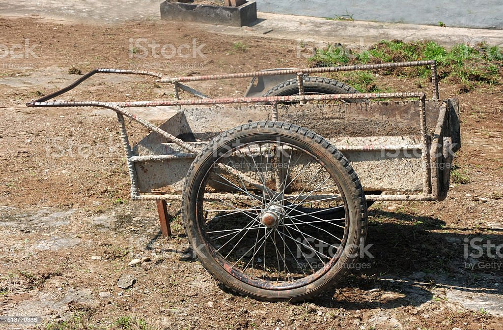 Old steel trolley (cart) for construction at ground stock photo