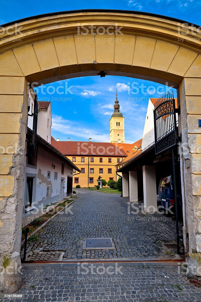 Old stees of baroque town of Varazdin stock photo