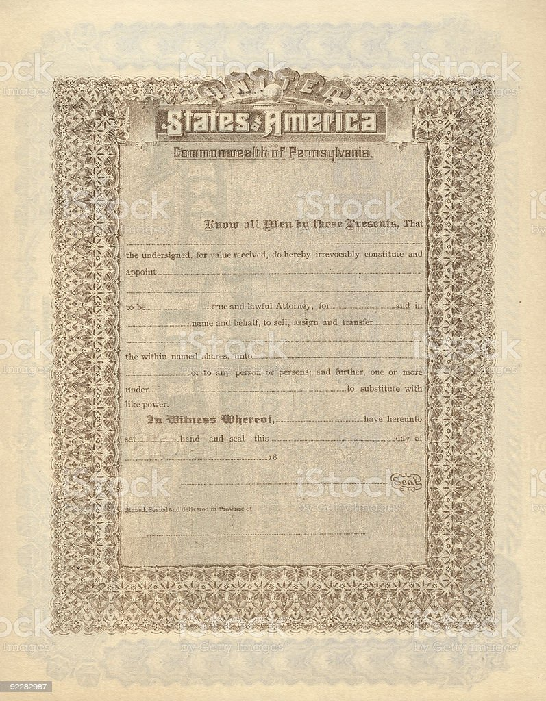 Old Stock Certificate 3 stock photo