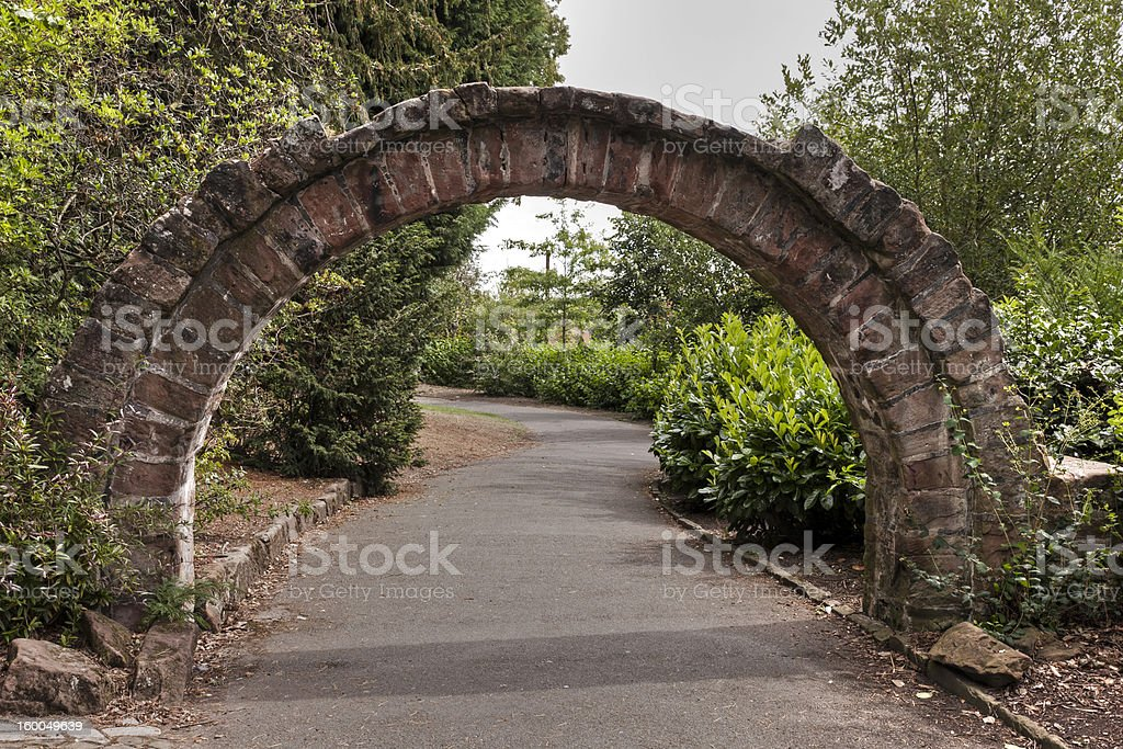 Old stone arch in Grosvenor park, Chester. royalty-free stock photo