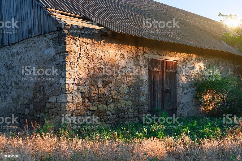 Old stone barn. stock photo