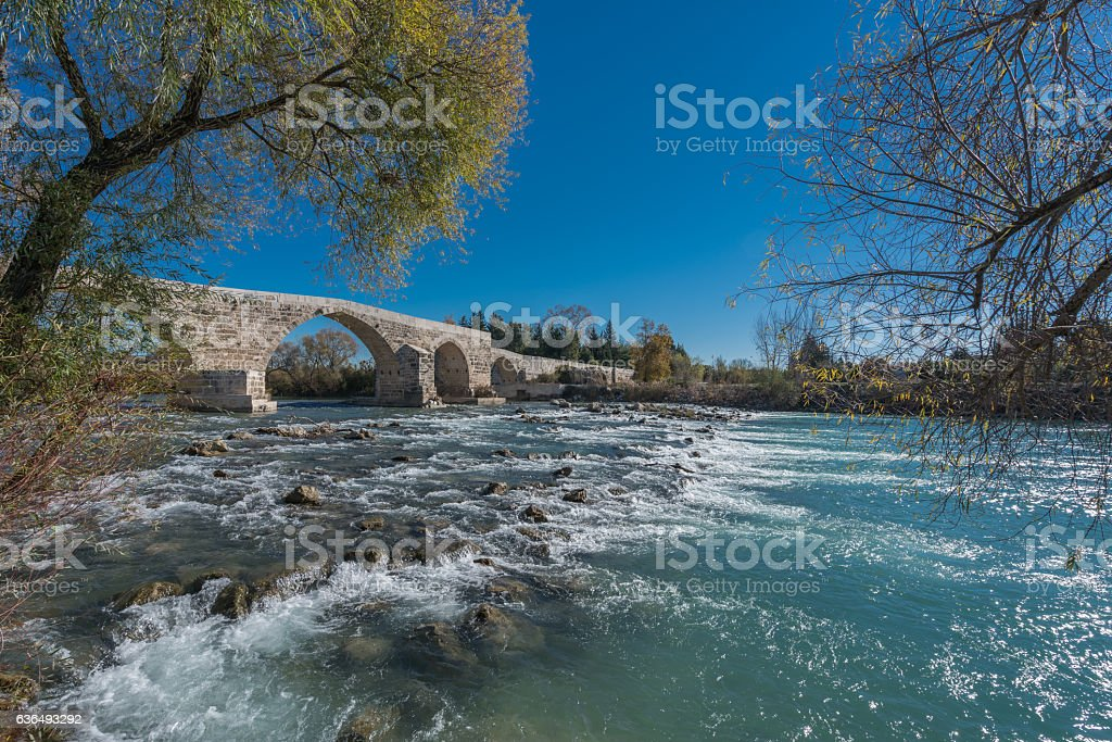 Old Stone belkıs  aspendos Bridge stock photo