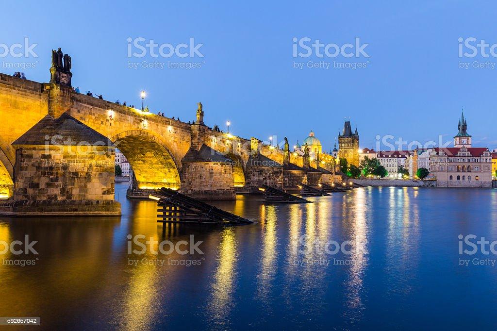 Old stone bridge Charles Prague medieval landmark night travel stock photo