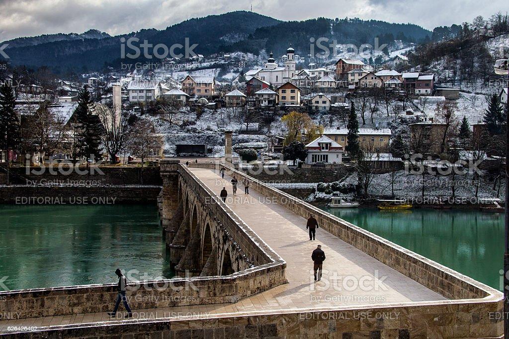 Old Stone Bridge on the Drina in Visegrad stock photo