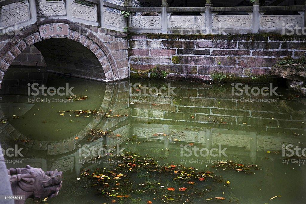 Old Stone Bridge Reflections Temple Chengdu Sichuan China stock photo
