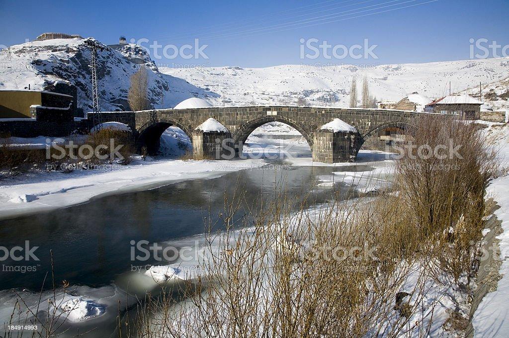 Old stone bridge under snow royalty-free stock photo