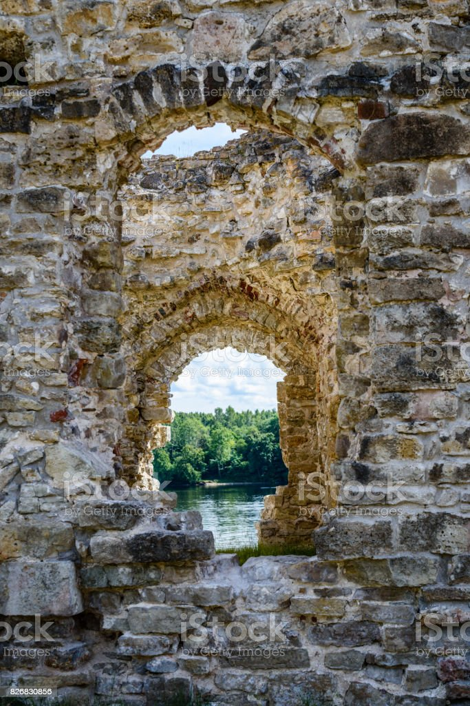 old stone castle ruins stock photo