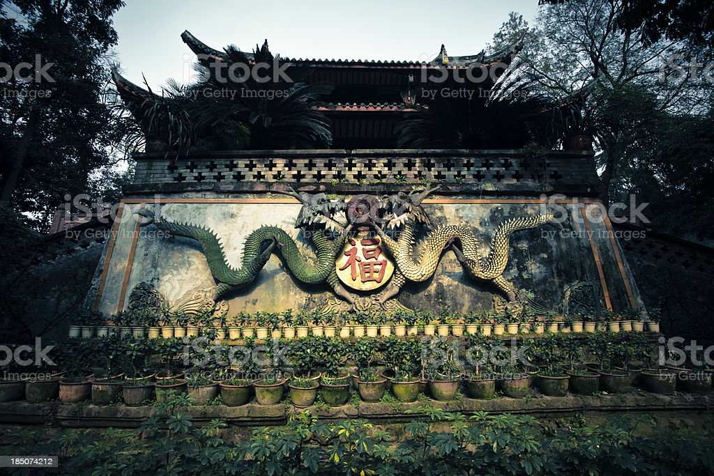 old stone chinese dragon temple royalty-free stock photo